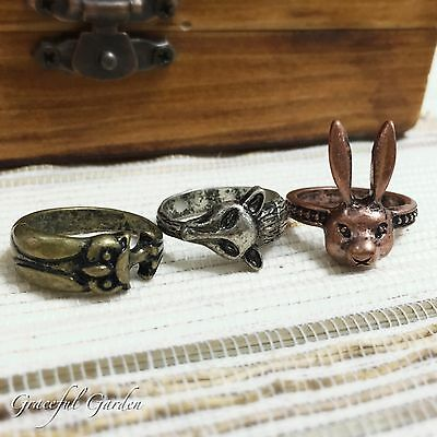 CR2144 Graceful Garden Vintage Style Animals in Forest Ring #6-#7