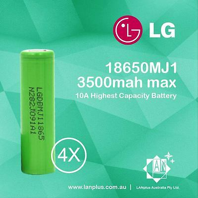 4x LG 18650 INR18650MJ1 3500mah Max 10A Highest Capacity Battery on the Market