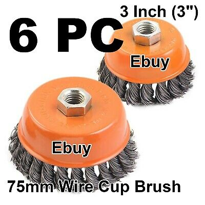 "6 New 3"" Cup Wire Brushes Twist Style Wheels Grinding metalworking cleaner 5/8"""