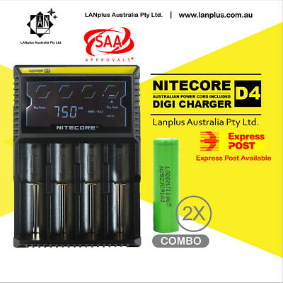 Nitecore D4 Digicharger LCD Smart Battery Charger + 2x LG INR18650MJ1 3500mah