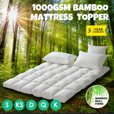 ALL SIZE 1000GSM Bamboo Fibre Pillowtop Mattress Topper Protector Pad Cotton Top