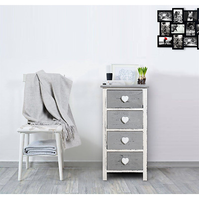 Mobili Rebecca® Chest of drawers Cabinet 4 Drawer Grey White Vintage Bedroom