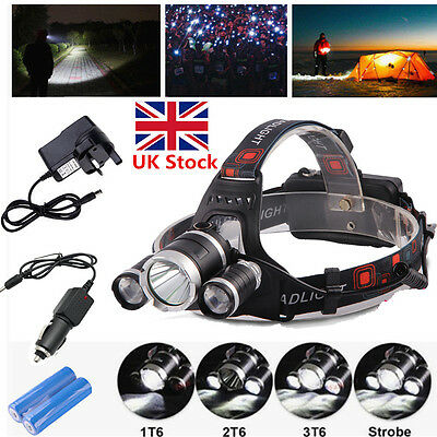 10000Lm 3 Cree XM-L T6 LED Headlight Torch Rechargeable Headlamp Head Light Lamp