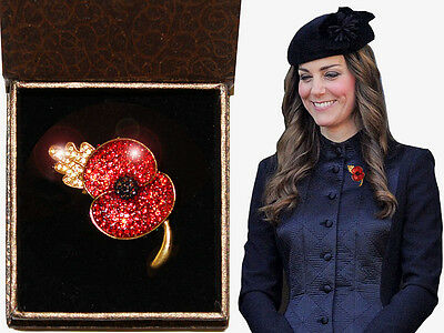 Princess Kate Poppy Broach Red Crystal Gold Solid metal Box Remembrance ANZAC