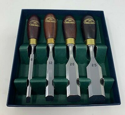Crown Hand Tools Wood Carving Butt Chisel Set 4pc 6,12,20 & 25mm Chisels
