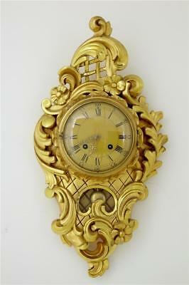 20Th Century Swedish Gilt Carved Wall Clock By Westerstrand