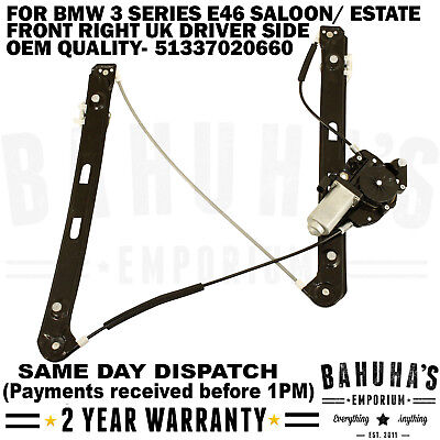 For Bmw E46 3 Series Front Right Side Electric Window Regulator & 2 Pin Motor
