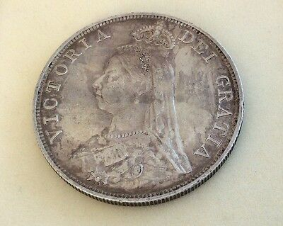 Nice Old High Grade Antique 1887 Victorian Solid Silver Double Florin Coin