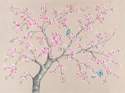 Oopsy Daisy Cherry Blossoms and Butterflies Wall Mural