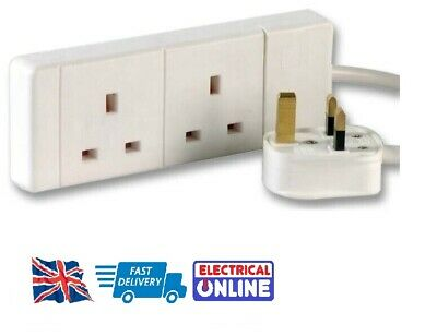 2-Way Extension Lead - Two Gang Multi Plug Socket - White Power Cable