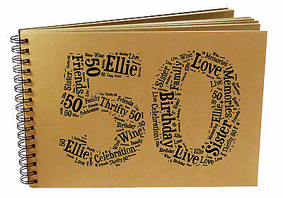 PERSONALISED 50th Birthday, Photo Album, Scrapbook, Guest Book, Gift Idea