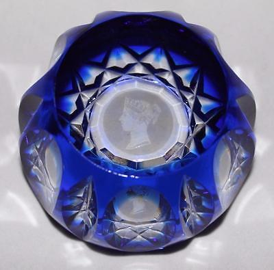 Art Glass, Clobalt Blue w/ Etched Athena Greek Goddess Etched Crown, Paperweight