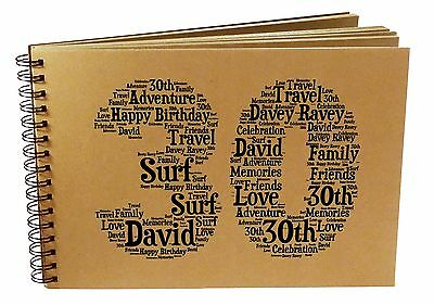 PERSONALISED Birthday Word Art Photo Album 30th/40th/50th/60th/70th/80th/90th