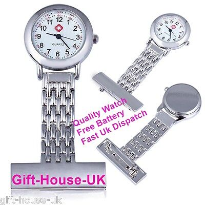 Quality Stainless Steel Silver Metal Nurse Brooch Tunic Fob Watch Design2