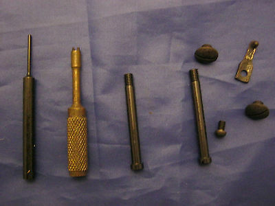 Luger WWI Stock iron screws & spring  w Luger pin punch, fine tune & grip screws
