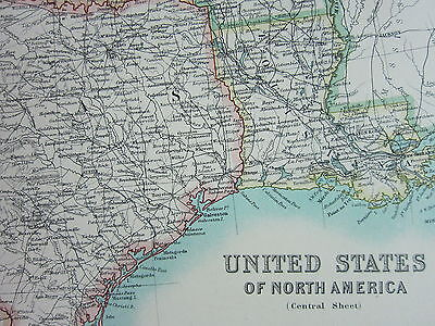 1910 Map ~ United States Central Sheet ~ Texas Nebraska Dakota Montana