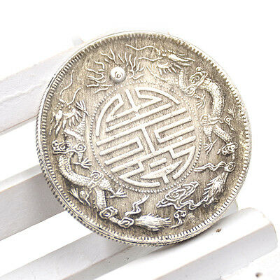 Chinese Traditional Feng Shui Double Dragons Lucky Coin Auspicious Wealth Prayer