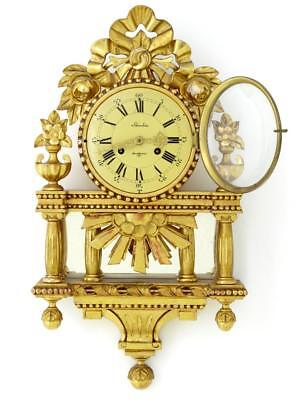 20Th Century Swedish Ornate Gilt Wall Clock By Skandia Of Stockholm