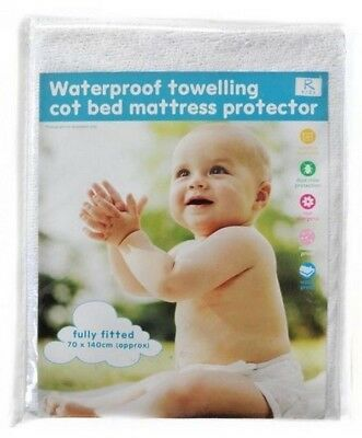 Cot Bed Waterproof Towelling Fitted Mattress Protector White 70cm x 140cm NEW