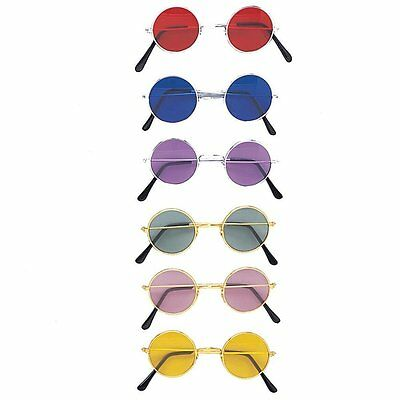 Novelty John Lennon Style Round Tinted Glasses (Hippy/70s/80s/Fancy Dress/Kids)