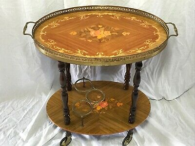 Antique French Empire Style Floral Marquetry Oval Server Drinks Trolley