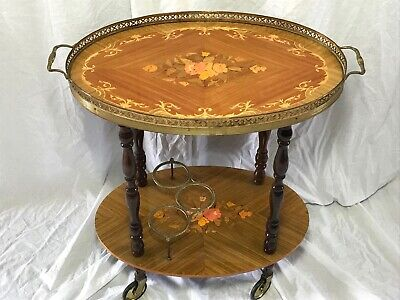 Vintage French Empire Style Floral Marquetry Oval Server Drinks Trolley