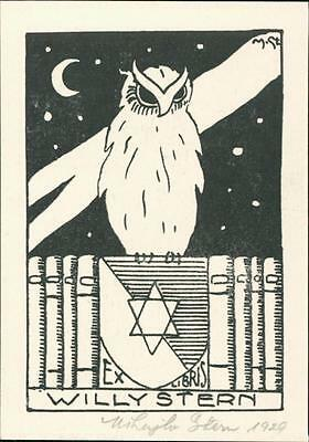 Signed Mihaglo Stern Bookplate. Willy Stern. Owl. Star of David Bookplate QC.719