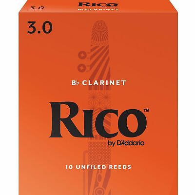 Rico Bb Clarinet Reeds, Strength 3, 10-pack