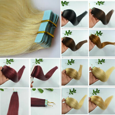 """Remy AAA 50g 16""""18""""20""""22"""" 45g Tape In Straight / Wavy 100% Human Hair Extensions"""