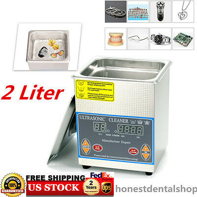 2L Stainless Steel Heated Ultrasonic Cleaner Cleaning Heater with Timer +Basket