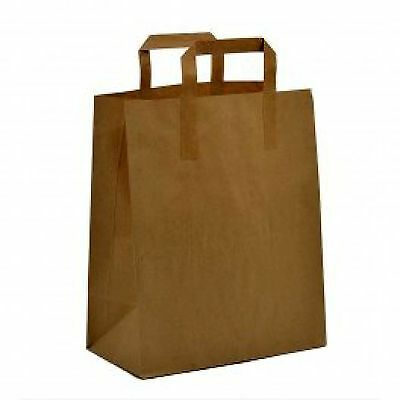 Paper Carrier Bags Brown SOS Kraft Takeaway Party Lunch -18x22x8cm  x 125