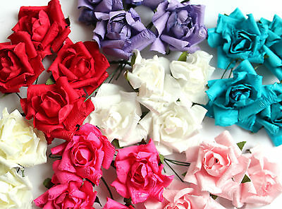 4 Shabby 35mm Paper Rose Flowers & Wire Stem Fr Card Making Craft Choice Colour