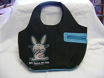"It's Happy Bunny Purse Black/Blue ""let's focus on me"" Jim Benton"