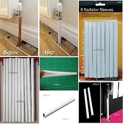 8 White Radiator Pipe Covers Sleeves Shrouds Snap Around Pipes 15.6Cm Covers New