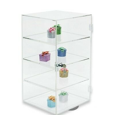 ROTATING ACRYLIC DISPLAY CASE COUNTERTOP DISPLAY CABINET Mirrored bottom CASE