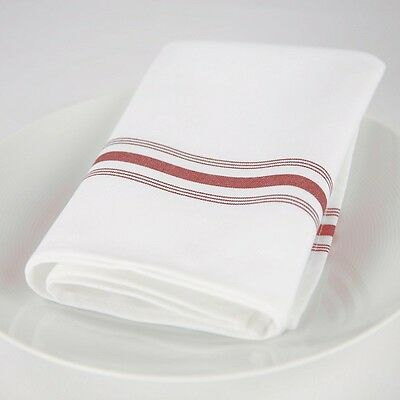 12 Bistro Red Stripe Restaurant Dinner  Napkins Catering Wedding Event Supply