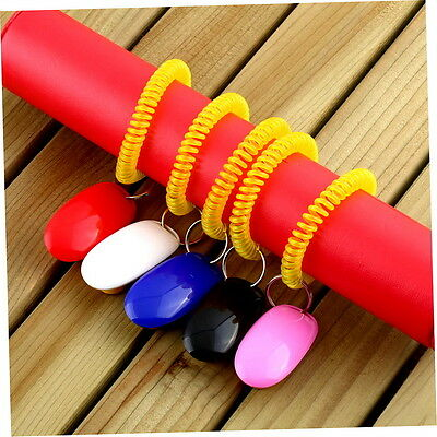 Dog Pet Click Clicker Training Obedience Agility Trainer Aid Wrist Strap SH