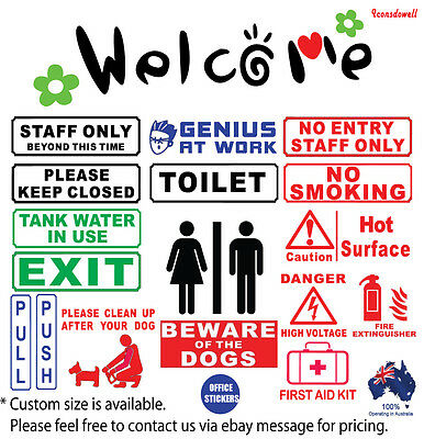 welcome office wall signs stickers genius at work staff  toilet no entry sticker