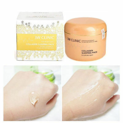 [3W CLINIC] Collagen Sleeping Pack 100ml + Collagen 3D Face Mask Pack Free Gift