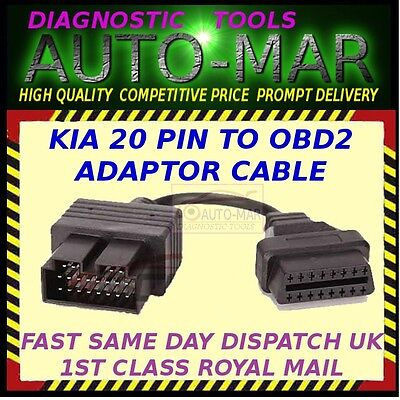 KIA 20 Pin Male to OBDII 16 Pin Female Car Diagnostic Adapter  Cable