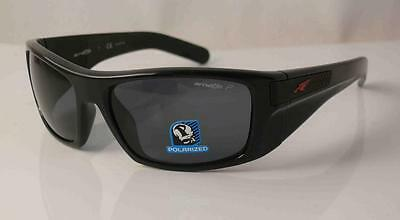46fd9ad7428 Arnette Polarized Two Bit Sunglasses An4197-03 Gloss Black Frame Grey  Lenses New
