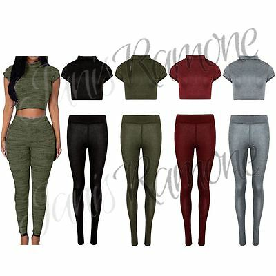 New Womens Polo Neck Knitted Crop Top Bottom Loungewear Ladies 2 Piece Tracksuit