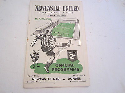 1949-50 FRIENDLY NEWCASTLE UNITED v DUNDEE