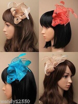 Pack Of 3 Looped & Twisted Sinamay & Feather Fascinators On A Clear Comb