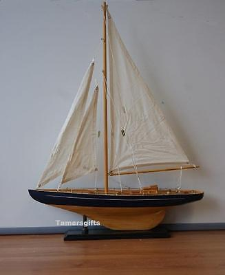 "22"" Medium Blue Sail Boat Yacht Wood Model Nautical Brand New Gift"