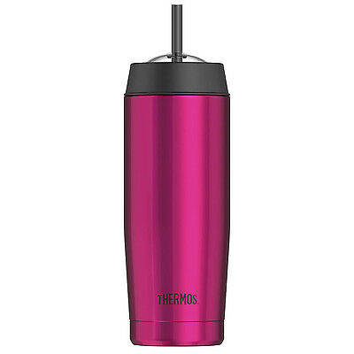 Thermos 470ml Stainless Steel Cold Drinks Cup Travel Tumbler With Straw Pink New