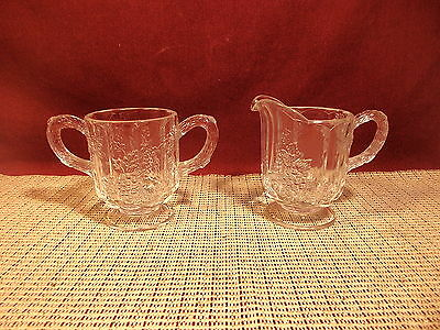 Westmoreland Crystal Paneled Grape Clear Individual Open Sugar & Creamer Set