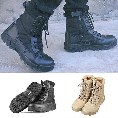 Mens Military Army Tactical Combat Ski Boots Sport Hiking Hunting Leather Shoes