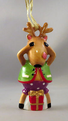 Reindeer Christmas Ornament No Peeking Presents Gold String New