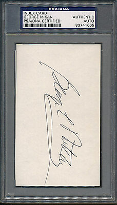 George Mikan Index Card PSA/DNA Certified Authentic Auto Autograph Signed *1605